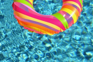pool ring in the water