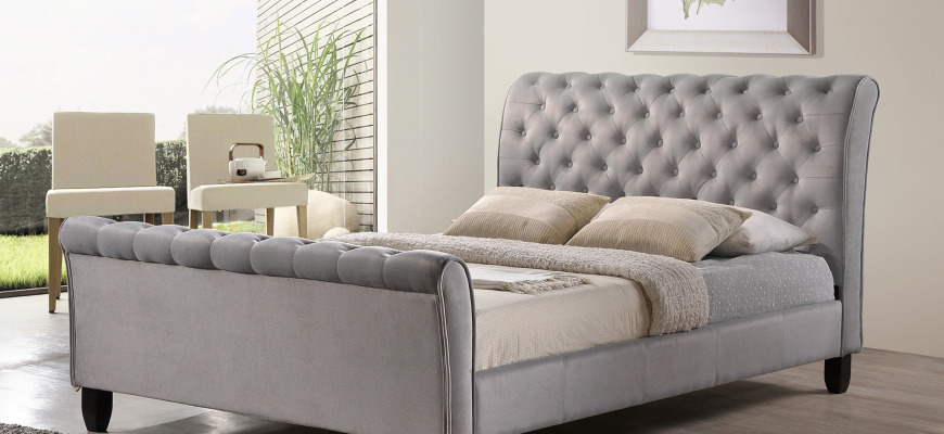 Grey Sleigh Bed By Inspire