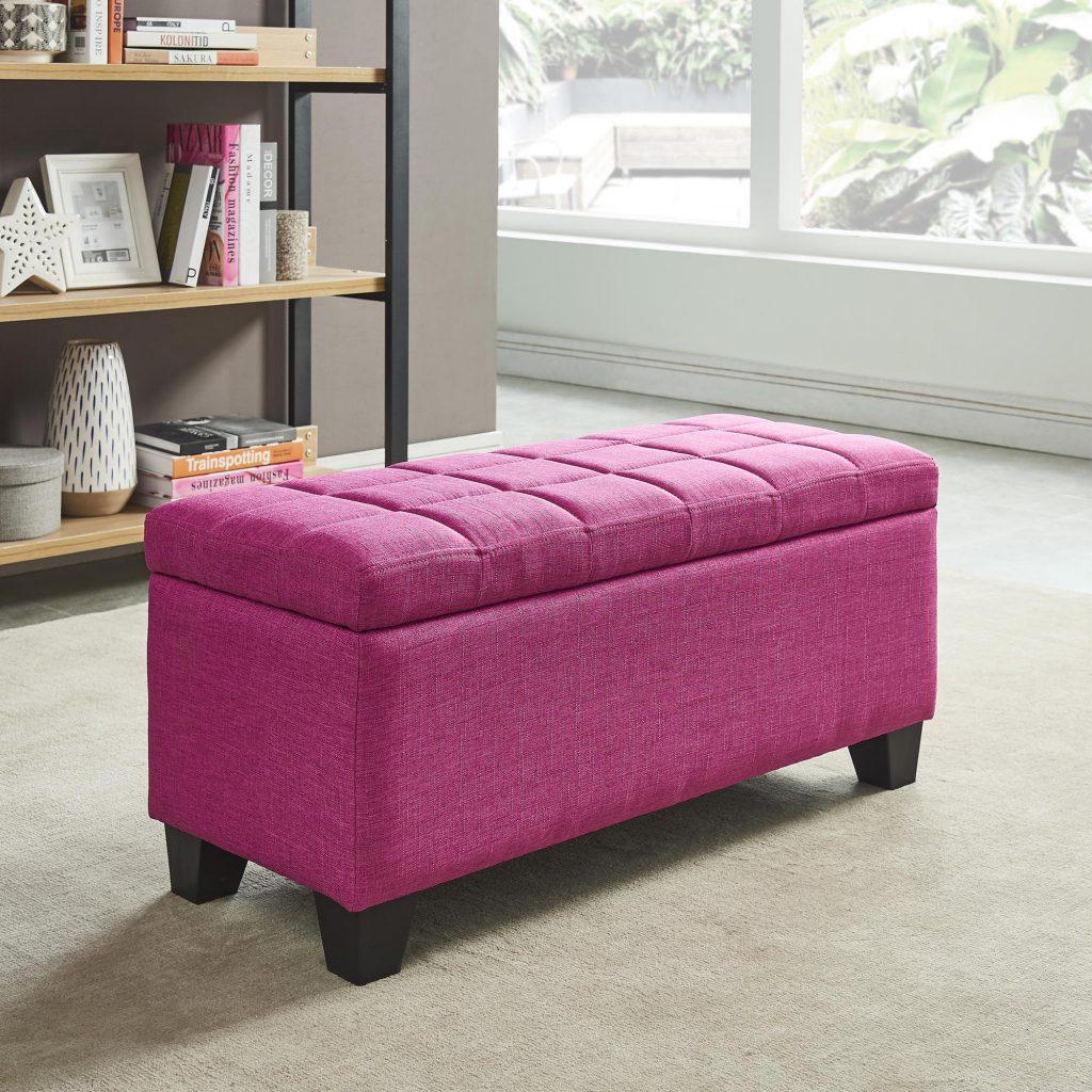 LILA pink storage ottoman