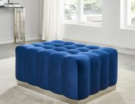 MAGNUM blue velvet ottoman with silver base