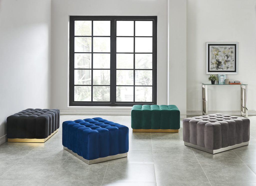 Accent seating in luscious fabrics and colours